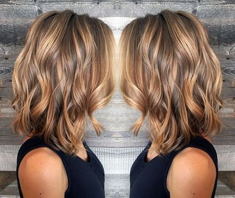 Layered Wavy Lob Hairstyle – Blonde and Light Brown Balayage