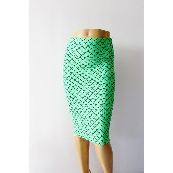 Mermaid Scale Spandex Bodycon Pencil Skirt ($35) ❤ liked on Polyvore featuring skirts, silver, women's clothing, bodycon skirt, knee length bodycon skirt, bodycon pencil skirt, green pencil skirt and body con skirt