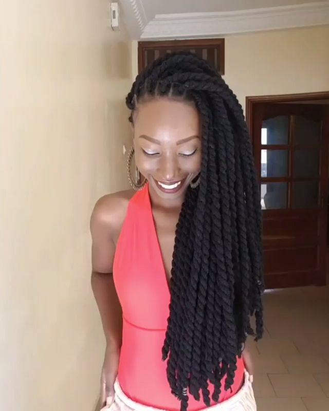 She Used Wool Thread To Achieved This Look Twist Braid Hairstyles Natural Hair Styles Natural Hair Styles Easy