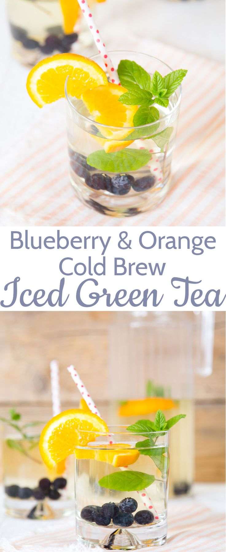 Cold brew tea is a refreshing and less bitter take on iced tea, with no need for added sugar. This thirst quenching version is made with green tea, flavoured with orange, blueberries and mint.