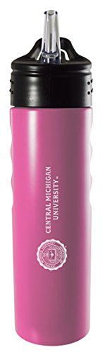 Central Michigan University-24oz. Stainless Steel Grip Water Bottle with Straw-Pink. Officially Licensed Collegiate Logo. Stainless Steel. Fits in Standard Cup Holder. Straw Included. Debossed Finger Grip.