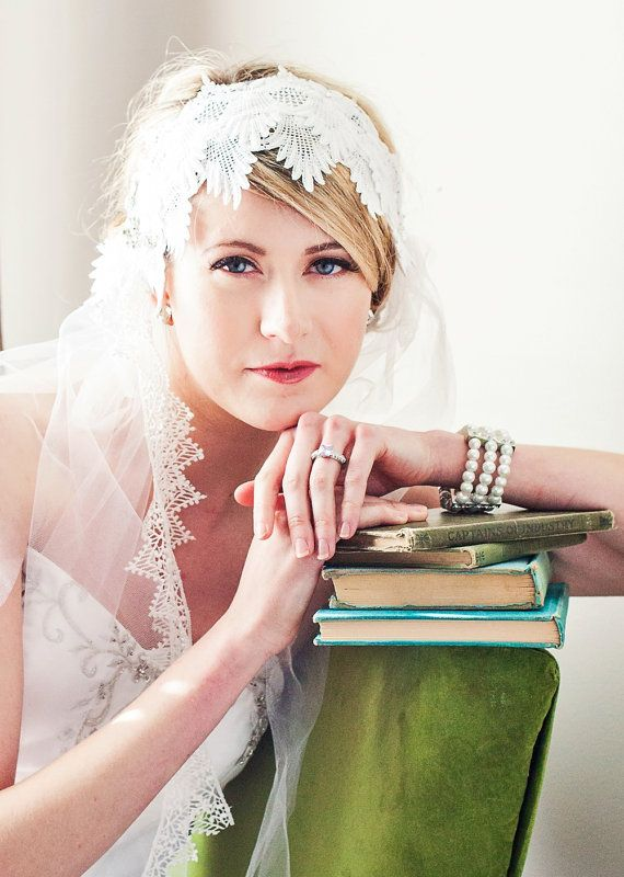 White Lace Art Deco Juliet Veil by ChantillyLaceDesigns on Etsy, $144.00