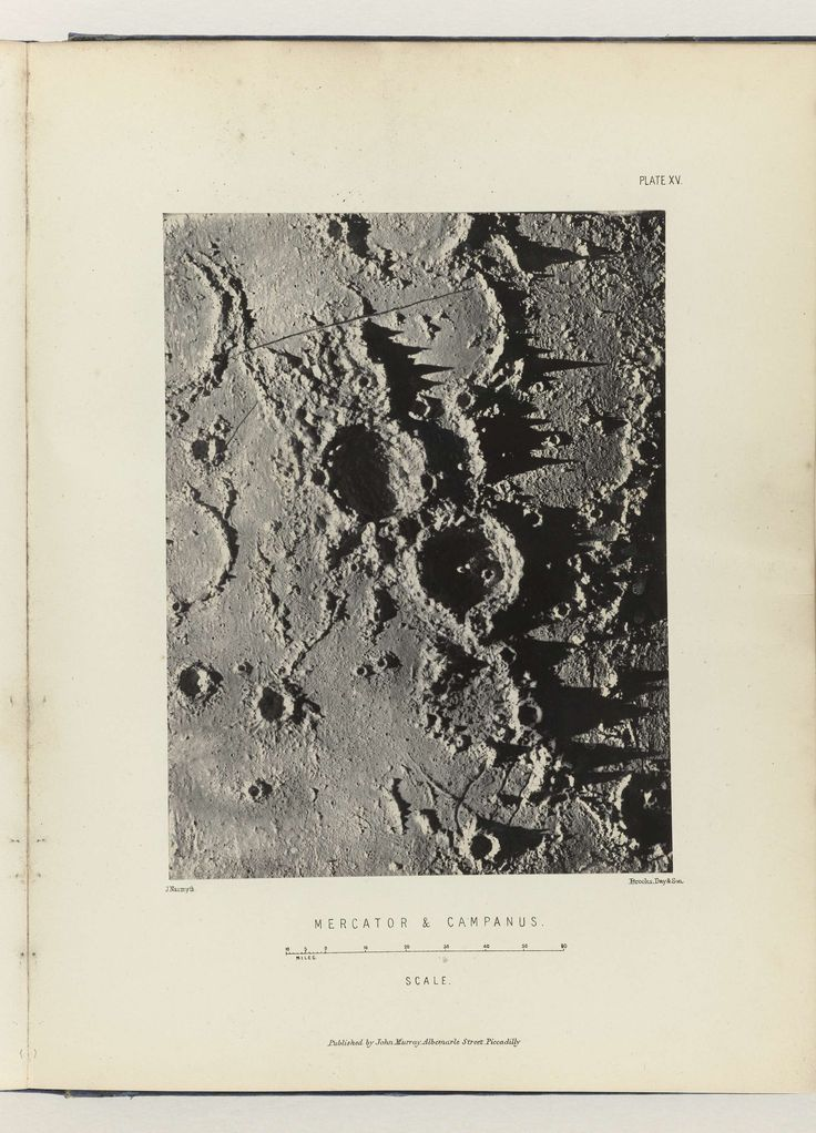 James Nasmyth | Mercator & Campanus, James Nasmyth, Vincent Brooks Day & Son, John Murray (uitgever), 1874 | Foto in boek 'The moon : considered as a planet, a world, and a satellite', 1874.