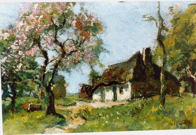 Jan van Vuuren (Molenaarsgraaf 1871-1941 Ermelo) Bloeiende boom op boerenerf