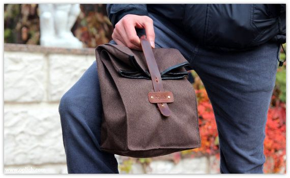 Waterproof Lunch Bag / Brown Lunch Tote / Lunch Bag Men/ Valentines gift for him/ FREE PERSONALIZATION