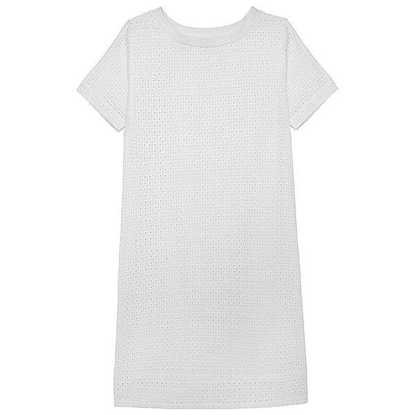 Olive + Oak Plain White T-Shirt Dress (385421001) (£57) ❤ liked on Polyvore featuring dresses, white, short-sleeve dresses, white loose dress, white eyelet dress, tee shirt dress and loose dresses
