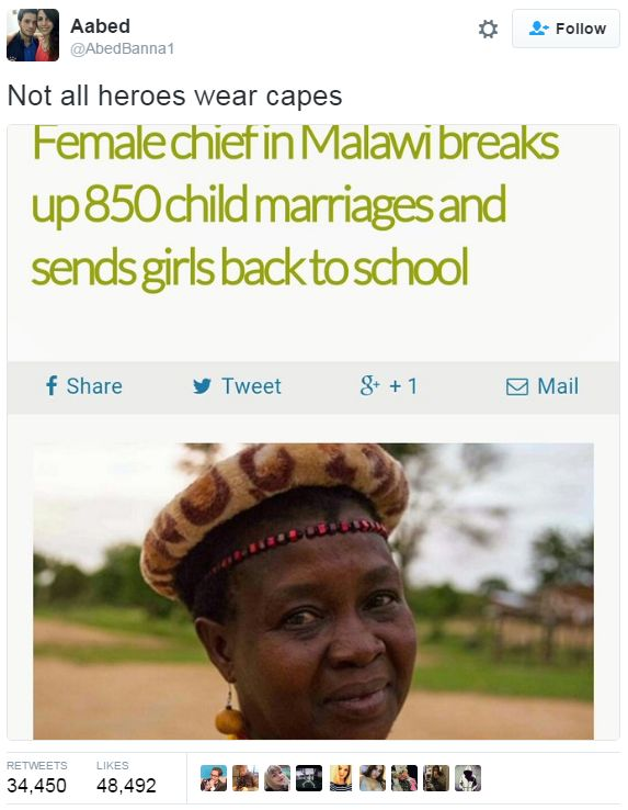 Her name is Theresa Kachindamoto and here's the article.