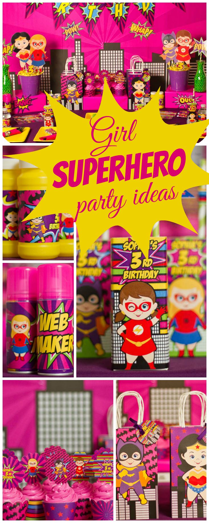 Here's a purple and pink superhero party for girls! See more party ideas at CatchMyParty.com!