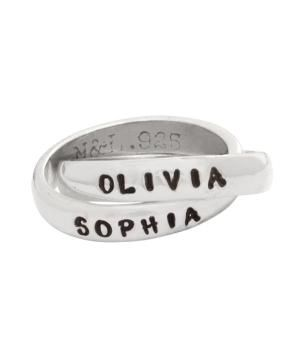 Sterling Silver Mothers Stamped Family Name Ring by www.nelleandlizzy.com