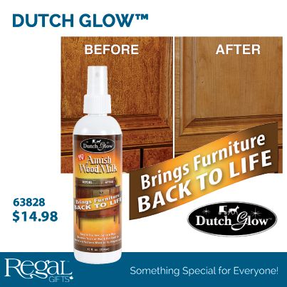 DUTCH GLOW™ Amish wood milk is a 100 year old formula which removes years of built up dirt and wax to reveal wood's natural beauty. Works on any wood surface, even painted. Cleans, polishes and nourishes. Removes heat rings, water marks and repels dust. 354 ml