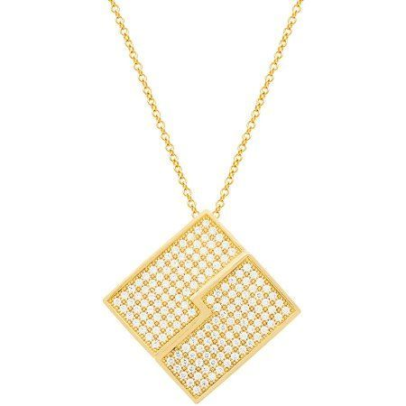 Angelique Silver CZ 18kt Gold over Sterling Silver Diamond Pave Center Zigzag Stripe Pendant, Women's