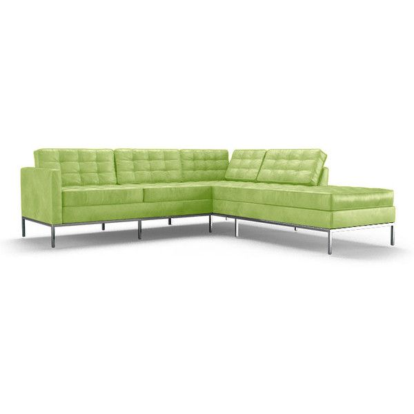 Franklin Mid Century Modern Green Leather Sectional with Bumper (2... ($6,599) ❤ liked on Polyvore featuring home, furniture, sofas, green, mid century modern leather sofa, mid-century sofa, green leather sectional, green leather sofa and mid century couch