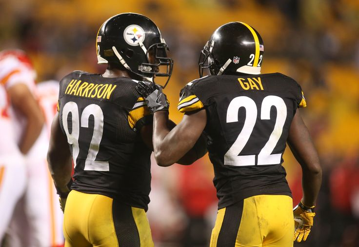 Oct 2, 2016; Pittsburgh, PA, USA; Pittsburgh Steelers outside linebacker James Harrison (92) and cornerback William Gay (22) talk on the field against the Kansas City Chiefs during the fourth quarter at Heinz Field. The Steelers won 43-14.  (4536×3120)
