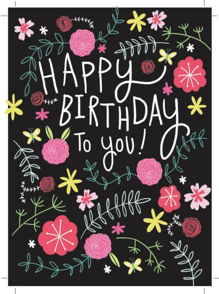 Jeannine Rundle - AD2909A HAPPY BIRTHDAY FLORAL BLACK