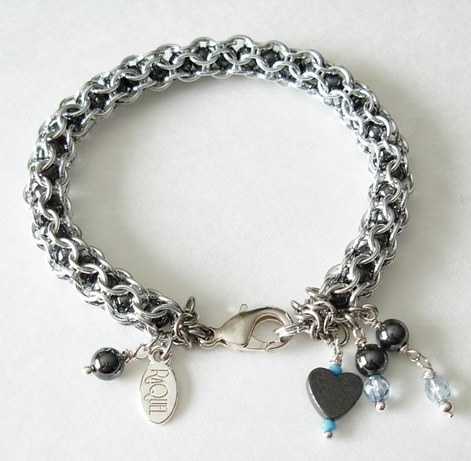 captive inverted hematite chainmaille bracelet