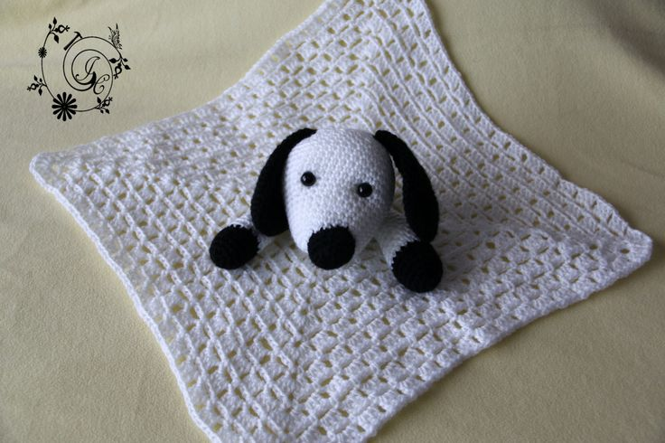 Puppy Lovey Blanket Crocheted White and Black. Crochet Baby Blanket - Baby Lovey Blanket - Baby Shower, Christmas, Birthday Gift by DelightGalleryCrafts on Etsy
