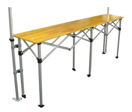 mesa plegable de aluminio superficie de la mesa en madera de abeto lacado abrazaderas