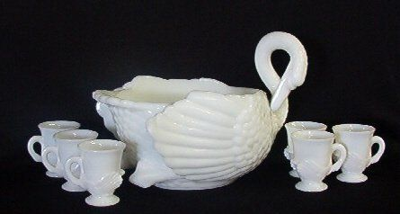 Lot:2300: Rare Milk Glass Swan Punch Bowl 6  Cups Cambridge, Lot Number:2300, Starting Bid:$700, Auctioneer:Hewlett's Auctions, Auction:2300: Rare Milk Glass Swan Punch Bowl 6  Cups Cambridge, Date:06:00 AM PT - May 3rd, 2008