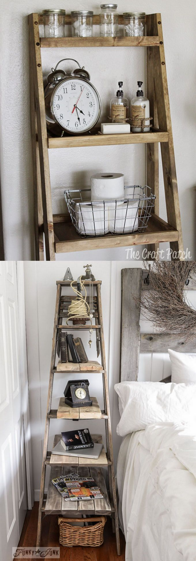 Ladder shelf leaning wall storage narrow shelf white lacquer