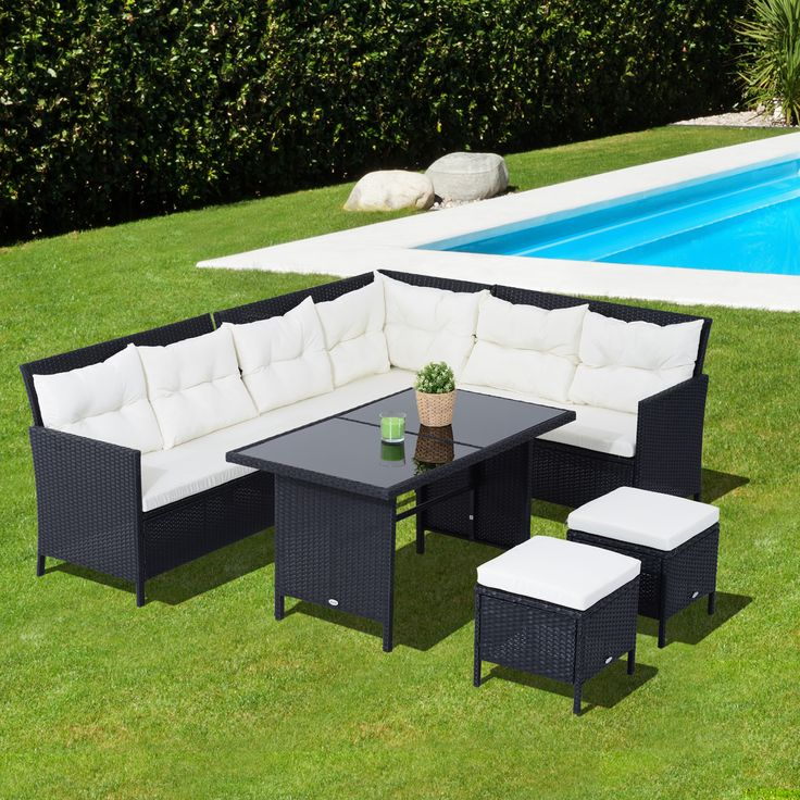 outsunny 6pcs outdoor rattan wicker sofa garden sectional couch patio furniture set with dining table and