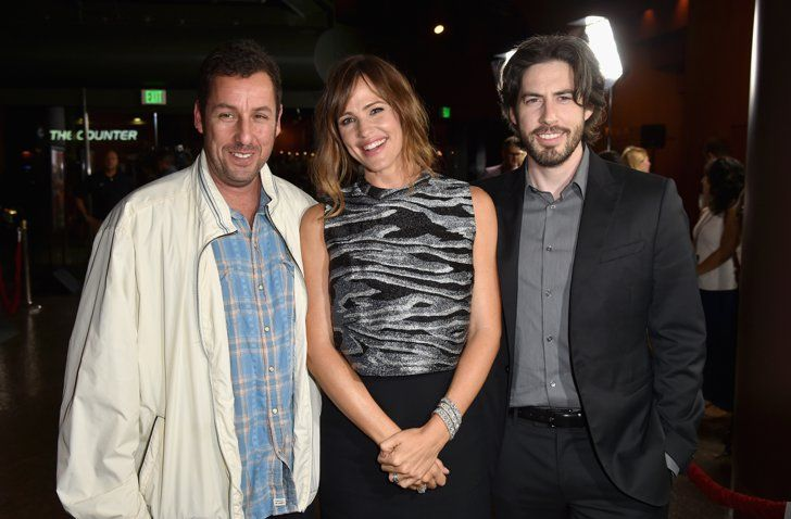Pin for Later: Can't-Miss Celebrity Pics!  Jennifer Garner posed with Adam Sandler and Jason Reitman at the LA premiere of Men, Women & Children on Tuesday night.