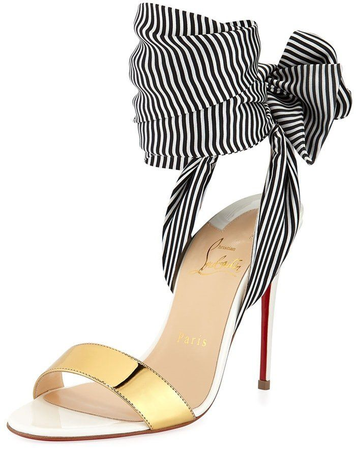 5e420b881e70 Christian Louboutin striped fabric sandals with metallic and smooth leather  trim