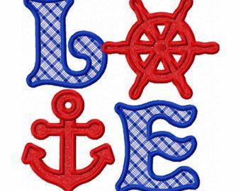 Instant Download Sailing Love Applique Machine Embroidery Design NO:1336
