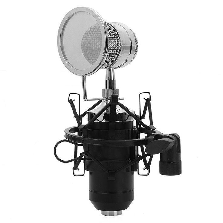 for KTV Karaoke BM-8000 Sound Studio Recording Condenser Wired Microphone With 3.5mm Plug Stand Holder Pop Filter Black
