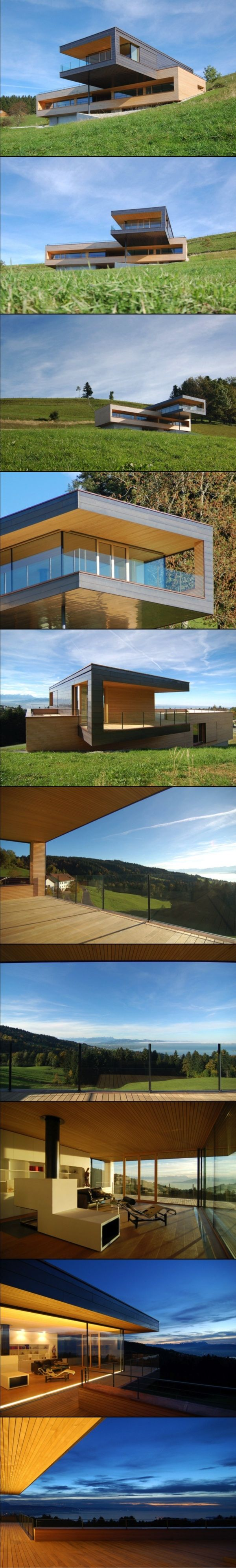 A Cantilevered Home Overlooking a Lake in Austria House Dornbin is a single family home overlooking the Rhine Valley, Lake Constance, and the Vorarlberg mountains in Austria by k_m architektur. The home sits on a sloped green meadow with a cantilevered top floor clad in copper that features an overhang for sun protection in the summer.