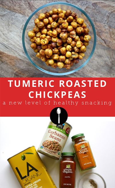 How to make tumeric roasted chickpeas -- a good healthy snack alternative. #greatist #healthy