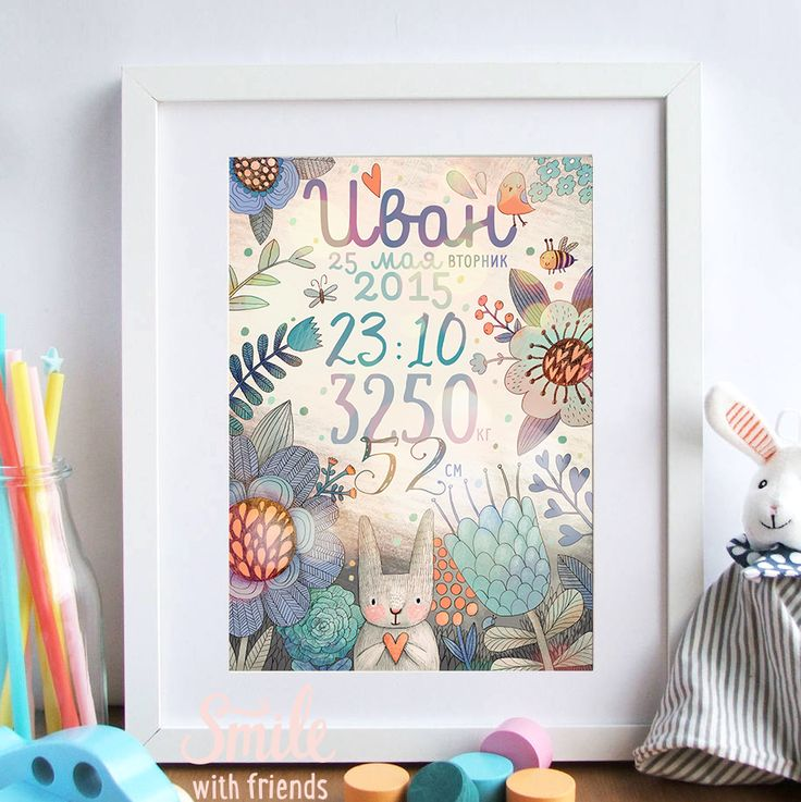 Метрика с зайчиком голубая - именной постер