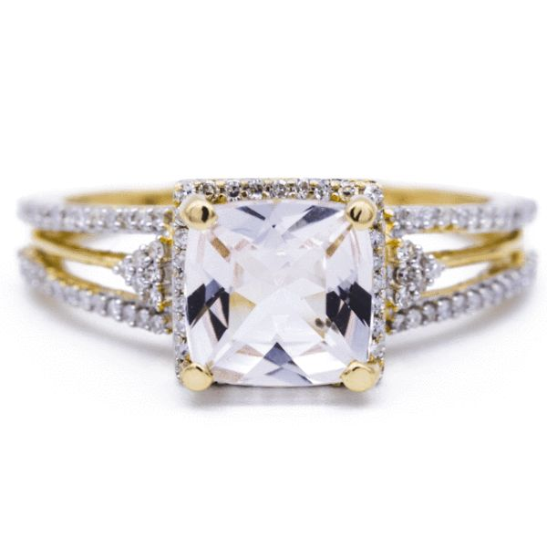 7mm Natural Cushion Cut Morganite Center 14k Yellow Gold Conflict Free Diamond Split Shank with Diamond Halo 1.5 Carat Total Weight