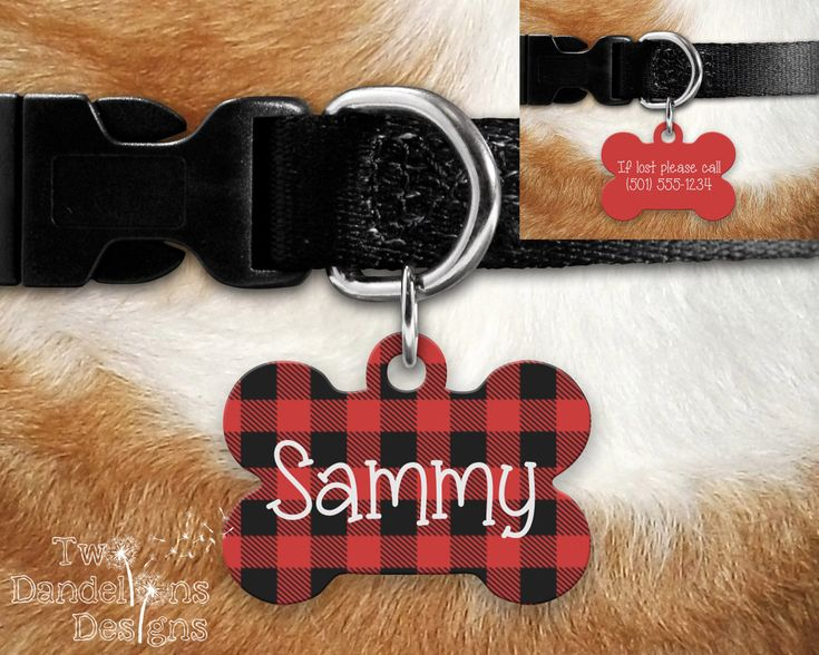 Red Plaid Lumberjack Pet Tag Dog Tag, double sided pet tag, custom pet tag, aluminum pet tag, bone tag, buffalo plaid pet tag, red pet tag by TwoDandelionsDesigns on Etsy