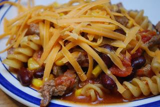 Rotini au bifteck et aux haricots rouges (Coup de Pouce)