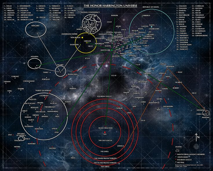 Well, I promised it almost 6 months ago. It was for august 2013, then September... And October... Sigh. And November is the winner ! :D So this his the english version of the Honorverse starmap. Thanks for your patience ;)  Poster Map of the Honorverse based on the work of Michael Swierczek
