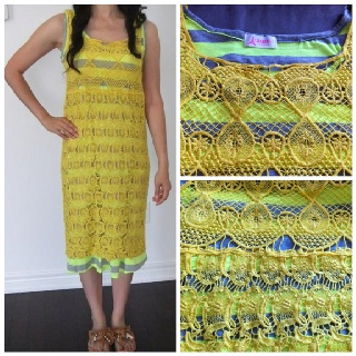 "2 in 1 Neon Maxi Dress ( Yellow Gray). QTY:1  Base-Lenght:39"" Bust:33-38"" Waist:25-36"" Outside:Lenght:36.5"" Bust:30-38"" Waist:25-36  Was:54  Now CAD$27"