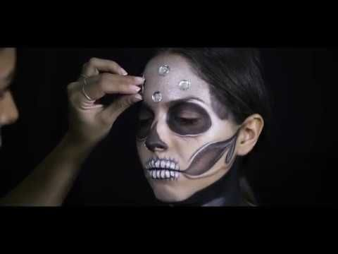 Diamond  Skull Makeup Tutorial! Watch on Youtube step-by-step! #art #youtube #makeup #halloween #glamour
