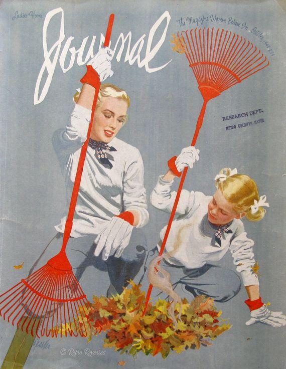 1948 Al Parker Art - Ladies Home Journal Magazine Cover - Mother & Daughter Raking Leaves - 1940s Armstrong Floor Ad - Retro Bathroom Decor
