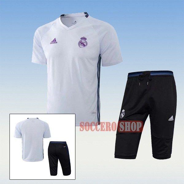 Popular Thai Quality Pre-Match Real Madrid White Training Jersey Kits + 3/4 Training Pants 2017 2018