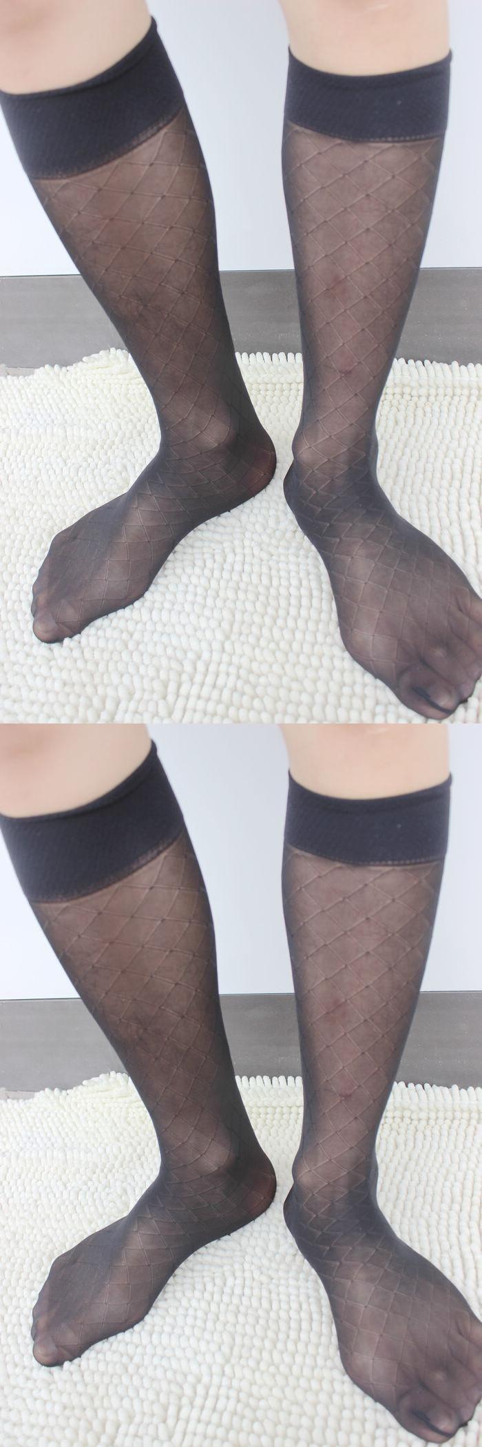 Gay Men Silks Socks Net Mesh Male formal suit dress Hose for leather shoes Sexy Breathable mesh male socks
