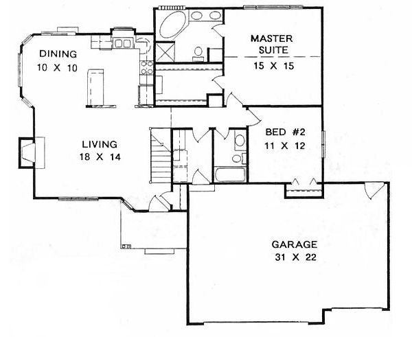 Ranch house plan chp 16100 at 1200 for 1400 square foot house plans with garage