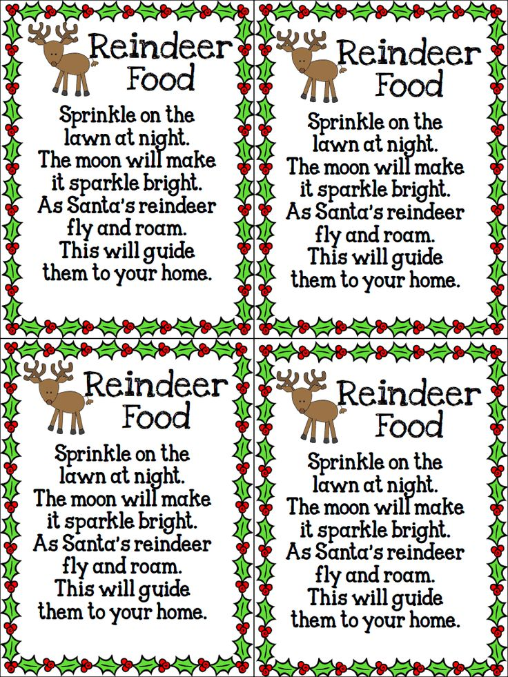 Reindeer Food. All the old favourites.