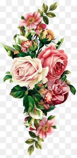 Vintage And Clip Cream Rose Art Border Pink