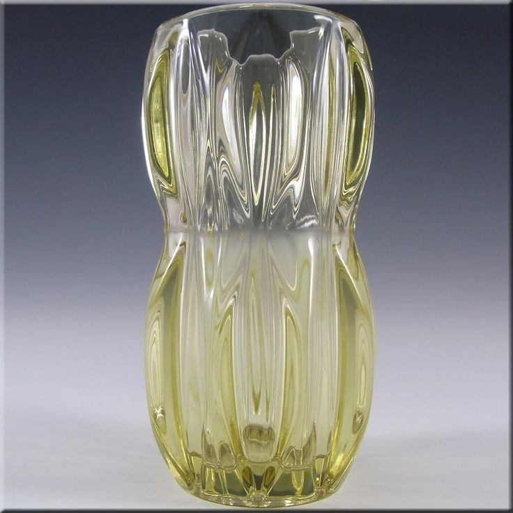 Rosice Sklo Union Yellow Glass Vase by Jan Schmid #1032 - £14.99