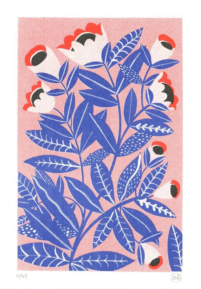 Image of Risograph print - Flower on pink