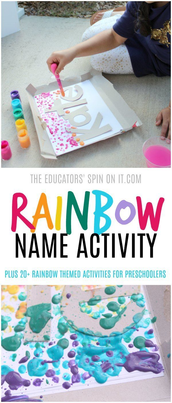 Create your own rainbow with this fun and colorful Drip Painting Rainbow Name Activity. Your preschooler will learn to identify the letters of their name and create a colorful art project with rainbow.  Plus additional rainbow themed activities include for you.    via @educatorsspinon