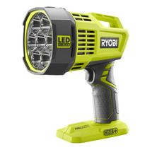 Check out this RYOBI product -      RYOBI introduces the 18-Volt ONE+ Dual Power Spotlight features a high-intensity beam for superb lighting in dim areas. This 2,500+ Lumen light runs with any RYOBI ONE+ battery or included 12V automotive cord.  Designed with a lock-on, the light can be used continuously without having to hold the trigger switch. See below for more details.