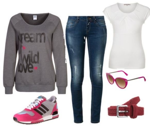 Grå sweatshirt med print, blå jeans - #Vero #Moda #Sweatshirt, #Anna #Field #Tshirt, #adidas #Originals #ZX700 #Sneaker