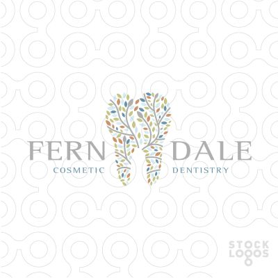Beautiful colourful logo design. The branches are designed to create a tooth shape. Colourful leaves blossom and grow from this beautiful and creative logo design.