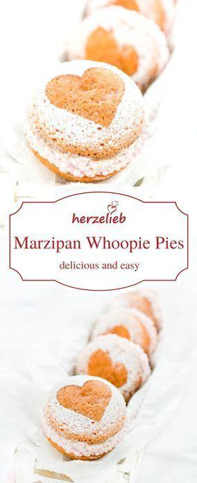Leckere Marzipan Whoopie Pies - Kuchen zum Geburtstag, Muttertag, Valentinstag. Aus der Hand direkt ins Herz!